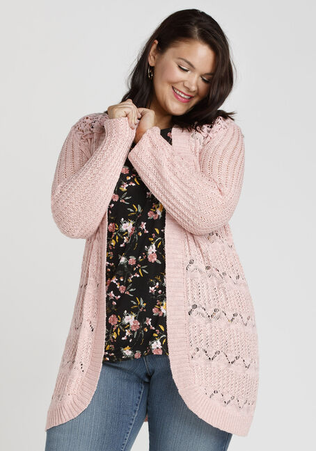 Ladies' Lace Insert Pointelle Cardigan, ROSEWATER, hi-res