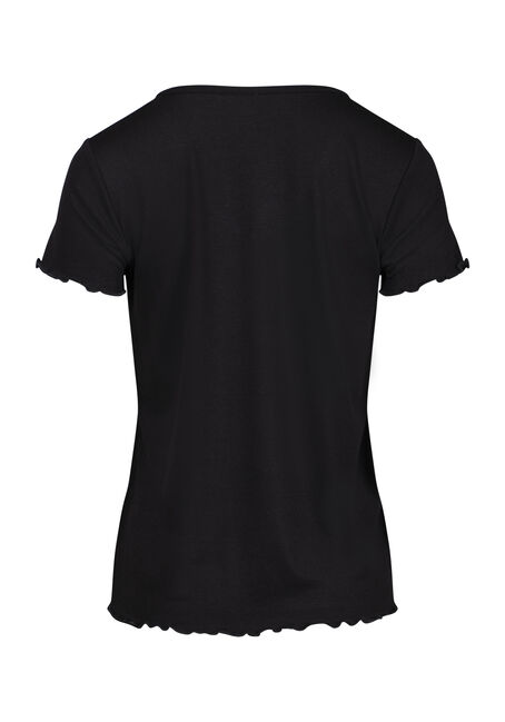 Women's Ruffled Hem Tee, BLACK, hi-res