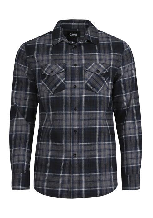Men's Flannel Plaid Shirt, INK, hi-res