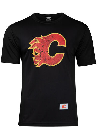 Men's NHL Flames Tee, BLACK, hi-res