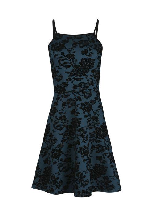 Women's Floral Flocked Fit & Flare Dress, TEAL, hi-res