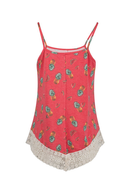 Ladies' Tropical Crochet Trim Tank, CORAL, hi-res