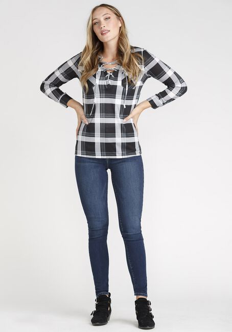 Women's Plaid Lace Up Shirt, BLACK/WHITE, hi-res