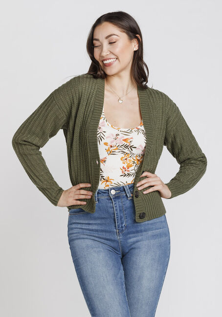 Women's Button Front Cropped Cardigan, MOSS, hi-res