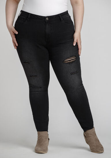 Women's Plus Size Black Distressed Skinny Jeans, BLACK, hi-res