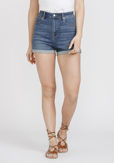 Women's High Rise Curvy Cuffed Short, MEDIUM WASH, hi-res