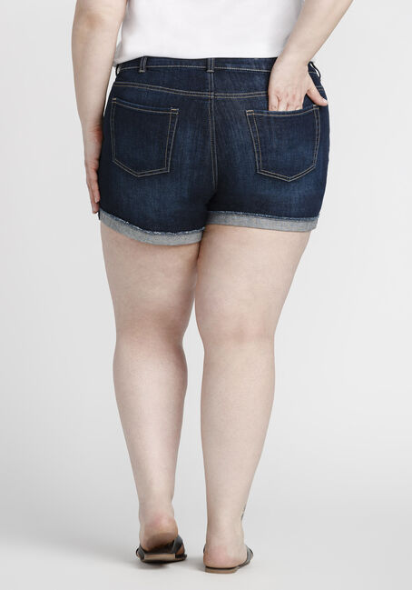 Women's Plus Size Cuffed Denim Short, DARK WASH, hi-res