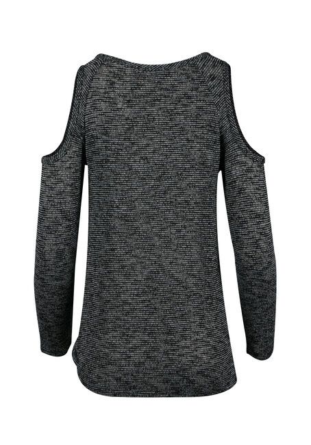 Ladies' Knotted Cold Shoulder Top, GREY/BLACK, hi-res