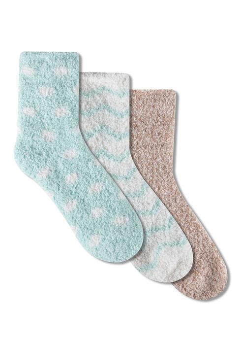 Ladies' 3 Pair Cozy Socks, PALE BLUE, hi-res
