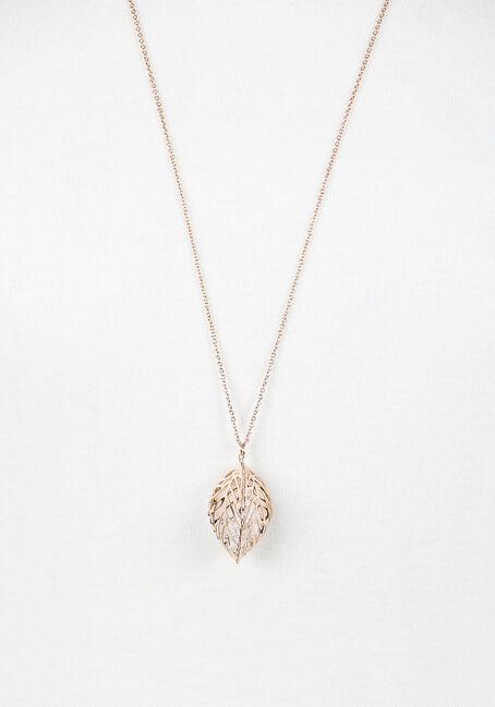 Ladies' Caged Leaf Necklace, GOLD, hi-res