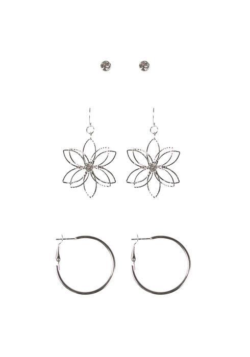 Ladies' Daisy Trio Earring Set, RHODIUM, hi-res