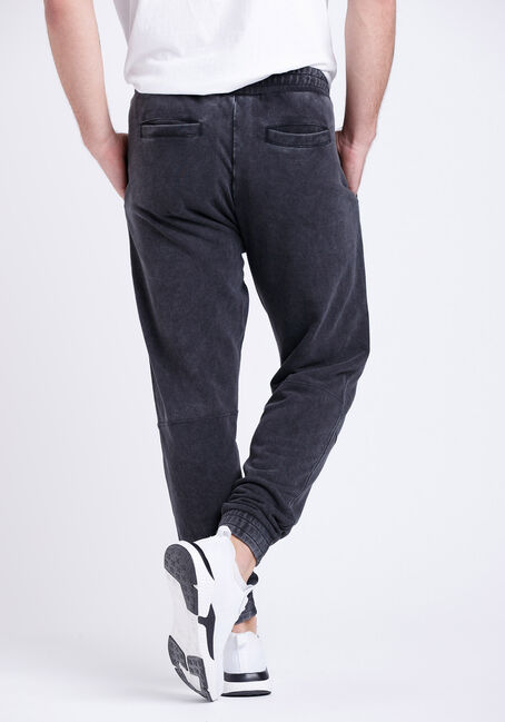 Men's Washed French Terry Moto Jogger, BLACK, hi-res