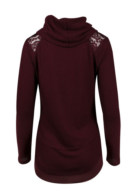 Ladies' Cowl Neck Top, WINE, hi-res