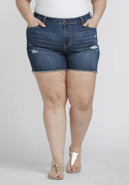Women's Plus Size Frayed Midi Jean Short
