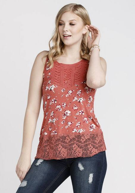 Ladies' Floral Crochet Trim Tank, PINK, hi-res