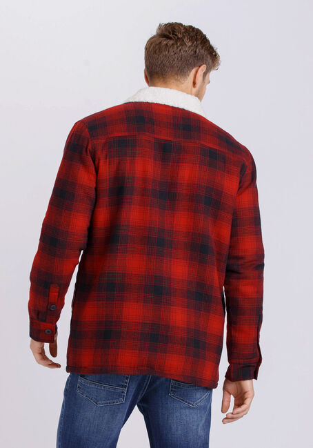 Men's Plaid Flannel Shirt Jacket, RED, hi-res