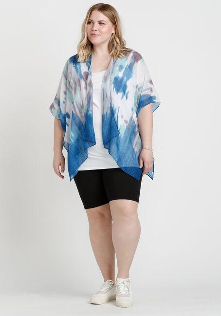 Women's Tie Dye Print Wrap, BLUE, hi-res