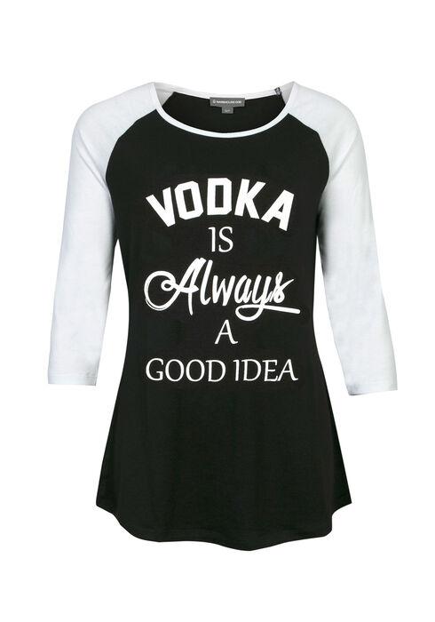 Ladies' Vodka Good Idea Baseball Tee, BLACK, hi-res