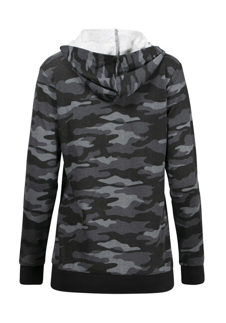 Women's Camo Lace Up Hoodie, CHARCOAL, hi-res