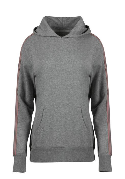 Women's Stripe Sleeve Hoodie, HEATHER GREY, hi-res