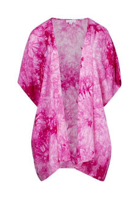 Women's Tie Dye Kimono, PINK, hi-res