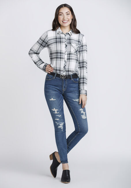 Women's Beaded Collar Relaxed Fit Knit Plaid Shirt, BLACK, hi-res