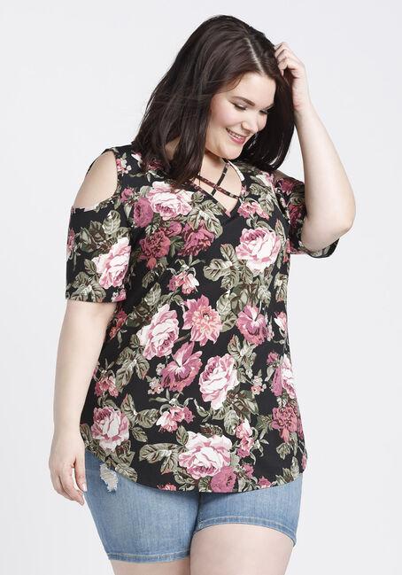 Ladies' Floral Cold Shoulder Top, BLACK, hi-res