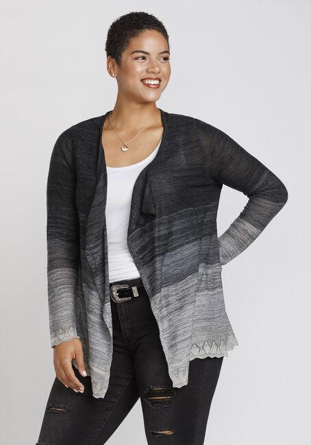 Women's Lace Hem Ombre Cardigan, BLK/WHT, hi-res