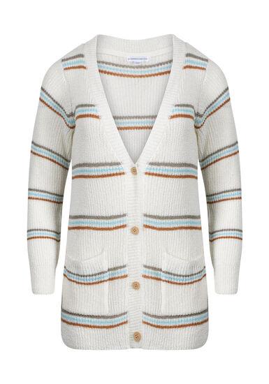 Women's Stripe Novelty Cardigan, IVORY COMBO, hi-res