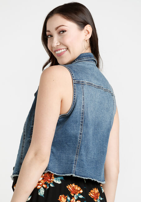 Women's Frayed Hem Crop Denim Vest, MEDIUM WASH, hi-res