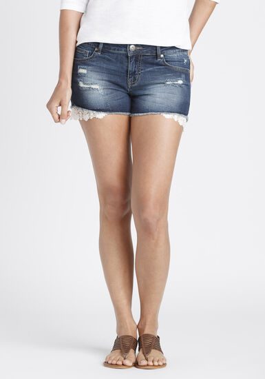 Ladies' Not-So-Short Short, DARK WASH, hi-res