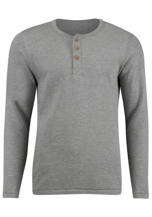 Men's Rib Knit Henley Top, LIGHT GREY, hi-res