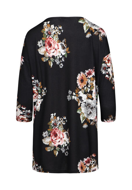 Women's Floral Dolman Tunic Top, BLACK, hi-res