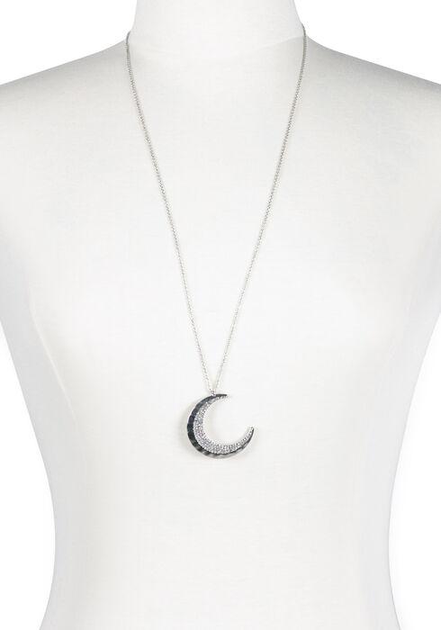 Ladies' Moon Necklace, SILVER, hi-res