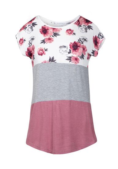 Women's Floral Colour Block Top, DUSTY PINK, hi-res