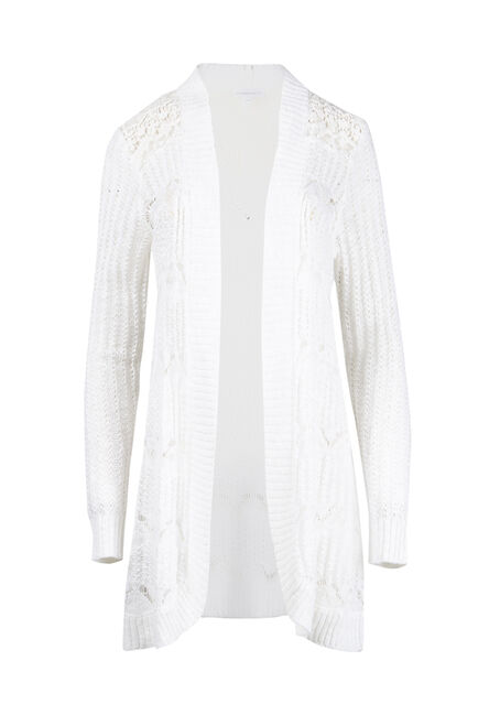 Women's Lace Insert Pointelle Cardigan