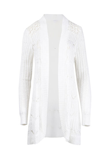 Women's Lace Insert Pointelle Cardigan, WHITE, hi-res