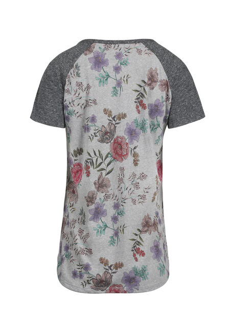 Ladies' Floral Print Baseball Tee, HEATHER GREY, hi-res