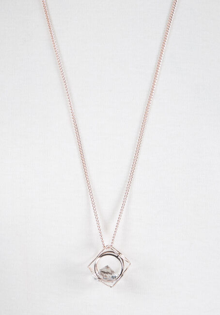 Ladies' Cube Necklace, ROSE GOLD, hi-res