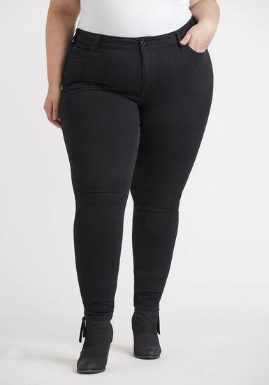 Women's Plus 5 Pocket Black Skinny, BLACK, hi-res