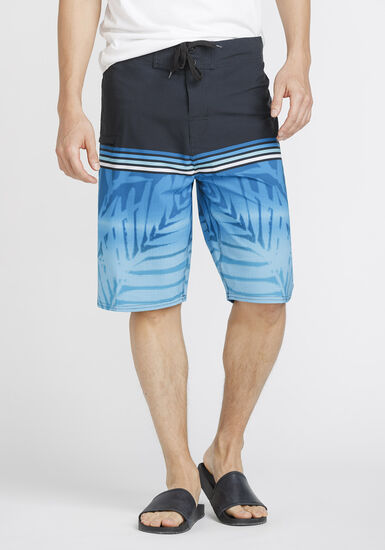 Men's Tropical Print Board Shorts, BLUE, hi-res