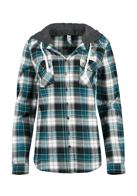 Ladies' Hooded Flannel Shirt