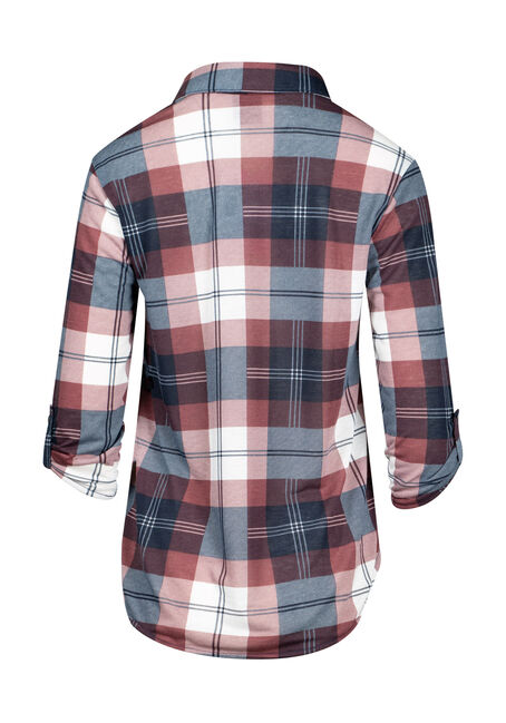 Women's Plaid Popover Shirt, NAVY, hi-res