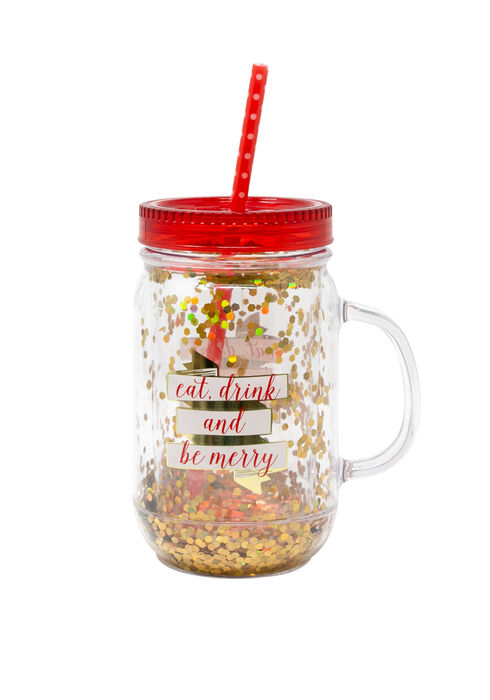 Eat Drink & Be Merry Mason Jar, RED, hi-res