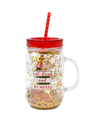 Eat Drink & Be Merry Mason Jar, RED, hi-res