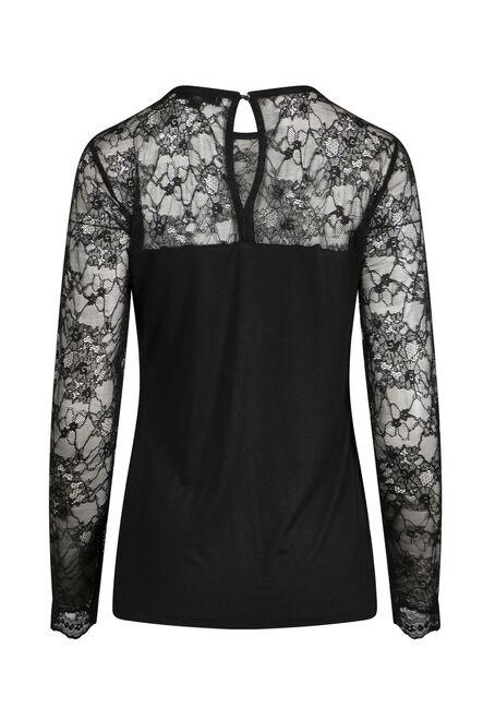 Women's Lace Sleeve Top, BLACK, hi-res