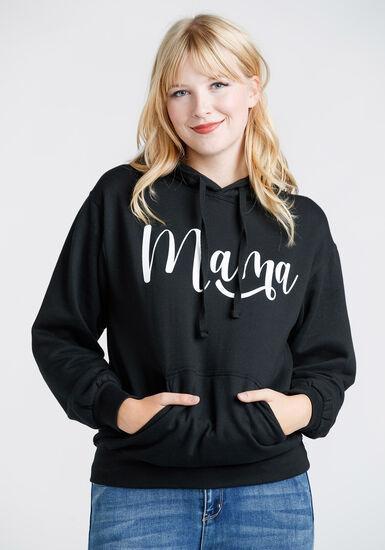 Women's Mama Pop Over Hoodie, BLACK, hi-res