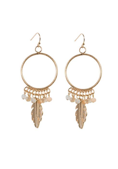 Ladies' Feather Charm Hoop Earring, GOLD, hi-res