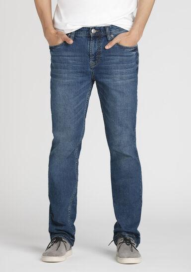 Men's Mid Wash Slim Straight Jeans, MEDIUM WASH, hi-res