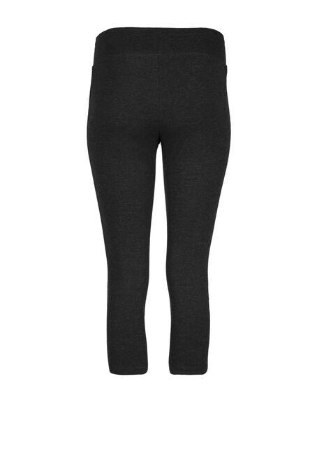 Women's Wide Waistband Capri Legging, CHARCOAL, hi-res